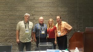 Presenters at the IWF urban wood seminar include: Dwayne Sperber, left, Rick Siewert, Jennifer Alger, and Rich Christianson, moderator.